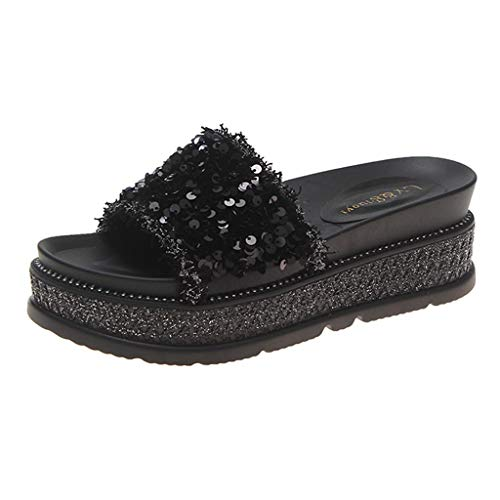 GHrcvdhw Summer Casual Sequined Non - Slip Beach Thick - Soled Ladies Slippers Black