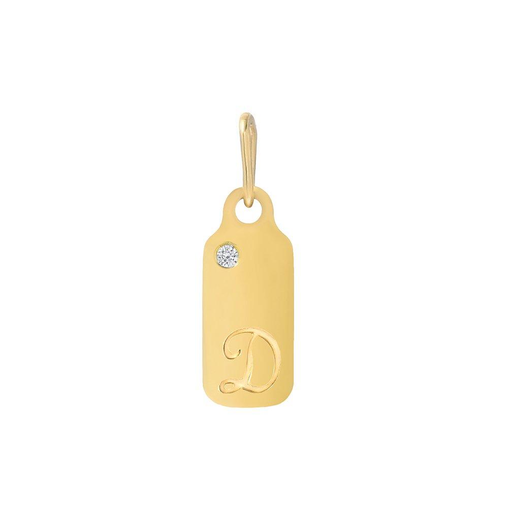 14k Gold Diamond April Birthstone Cursive Letter D Dog-tag Necklace