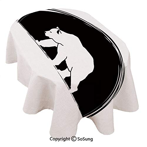 SoSung Animal Oval Polyester Tablecloth,Big Polar Bear Walking Side View Furry Creature Arctic Mammal Illustration,Dining Room Kitchen Oval Table Cover, 60 x 84 inches,Black and White