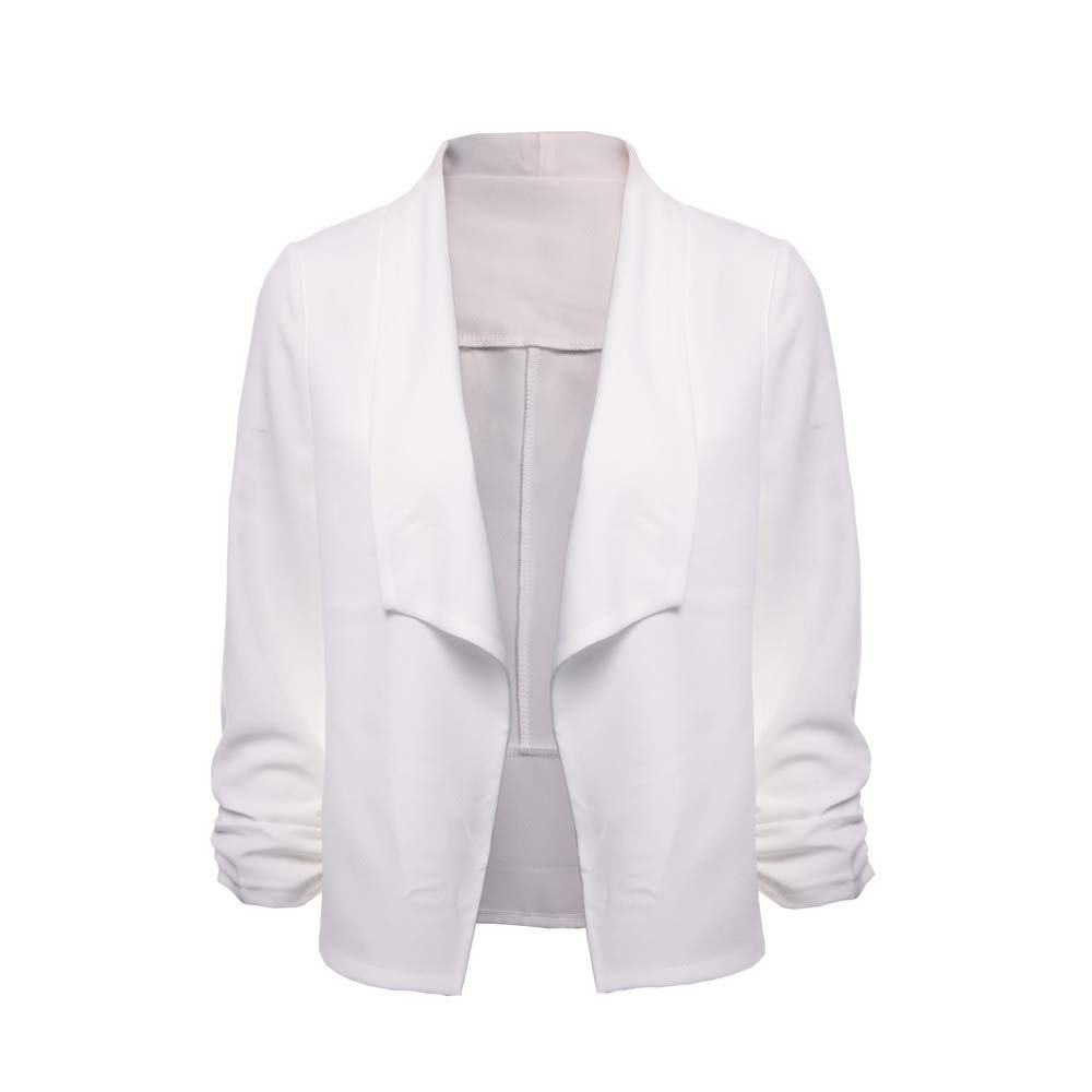 Veodhekai Lady Office Suits Tops Women 3//4 Sleeve Blazer Open Front Short Cardigan Suit Jacket Work Office Coat