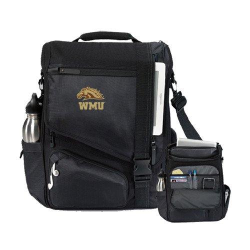 Western Michigan Momentum Black Computer Messenger Bag 'WMU w/ Bronco Head' by CollegeFanGear
