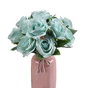 Ivalue Artificial Rose Flower Bouquets Pack of 2 with Total 14 Flower Heads Silk Fake Rose Bouquets for Wedding Home Decoration 113
