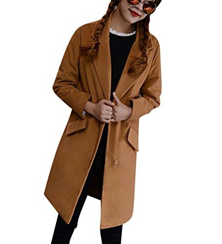 Outwear Cappotto Maniche Casual Lungo Giacca blended di donna invernale lana Lunghe Khaki da OaAqxaUw