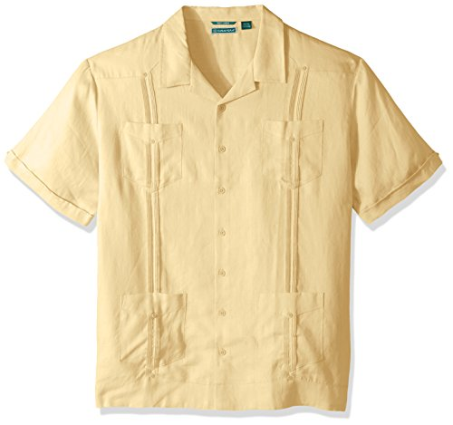 Camp Panel Shirt (Cubavera Men's Big Short Sleeve 100% Linen Cuban Camp Guayabera Shirt, Banana Crepe, X-Large Tall)