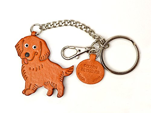 Golden Retriever Leather Dog Bag/Key Ring Charm VANCA CRAFT-Collectible Keychain Made in Japan