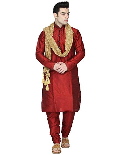 SKAVIJ Men's Art Silk Kurta Pajama and Scarf Set (Large, Red)