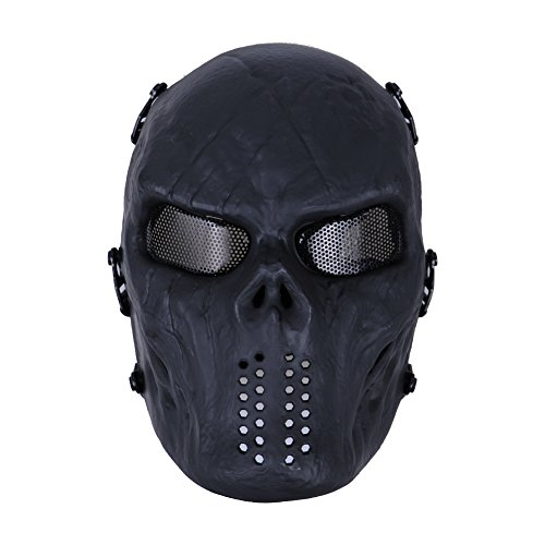 E-TECHING Full Face Airsoft Mask with Metal Mesh Eye Protection for Airsoft/BB Gun & CS Games (Camo Hockey Mask)