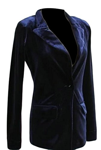 Vintage Blazer Velvet (Alion Women Vintage Slim Fit One Button Velvet Suit Blazer 1 S)