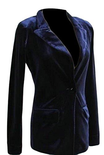 Alion Women Vintage Slim Fit One Button Velvet Suit Blazer 1 S