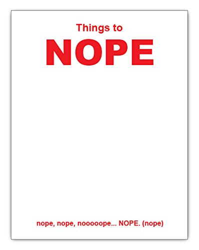 Things To NOPE Funny Notepad 4.25 x 5.5 inches, Red