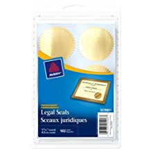 "Avery Legal Seals, 1-15/16"" Diameter, Gold, Round, 102 Labels, Permanent (32300)"
