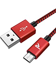 Rampow Câble Micro USB 2m Nylon Tressé en Fibre 2.4A - Charge/Synchro Rapide