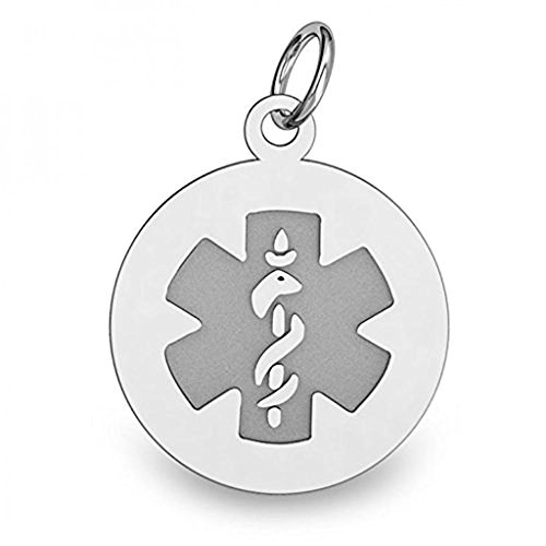 Sterling Silver Round Medical ID Charm or Pendant - 1/2 Inch X 1/2 Inch WITH ENGRAVING