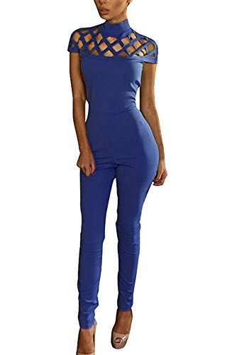 Aro Lora Women's Cut Out Caged High Neck Collar Bodaycon Jumpsuit Small Blue