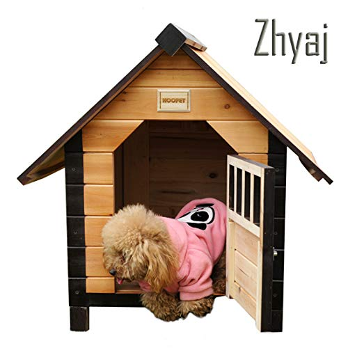 Zhyaj Garden Furniture, Natural Pet Chalet Villa Breathable Stable Dog Bed Windproof Rainproof Detachable Aroma of The Chinese Fir Forest Dog House,B