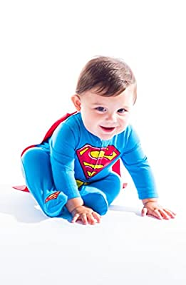Cute Superman Footed Pajamas with Cape for Toddler Boy