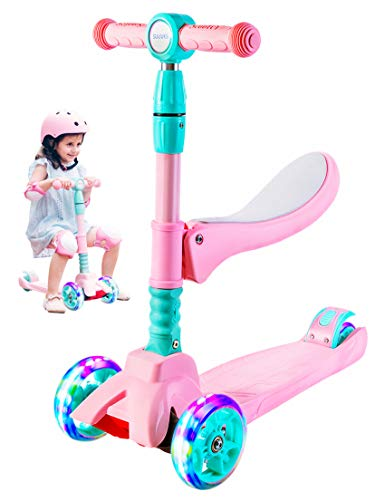 SULIVES 2 in 1 Kick Scooter for Kids with Foldable and Removable Seat,Adjustable Height Suitable for Children Ages 3-5 6-12,with Light up 3 Wheels Best Gifts for Toddlers Boys Girls