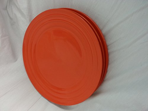 Orange Accent Plate - Rachael Ray (Tangerine) Orange Double Ridge Dinner Plate 11'' (Set of 4)