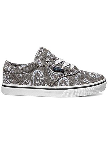 VANS - Chaussure à lacets grise, avec empeigne en denim imprimé, œillets en métal, logo latéral, coutures visibles et semelle, garçons ou filles