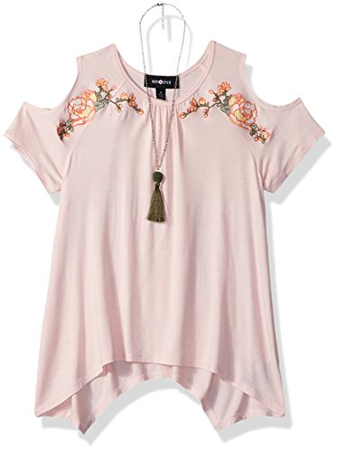 Price comparison product image Amy Byer Big Girls' Cold Shoulder Sharkbite Top With Necklace, Desert Blush, M