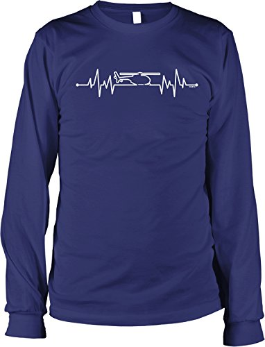 NOFO Clothing Co Helicopter Heartbeat Men's Long Sleeve Shirt, L Navy