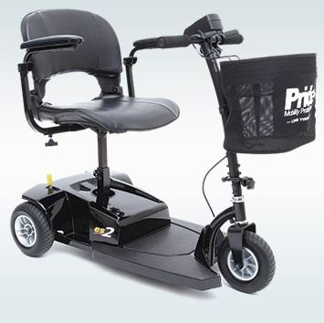 Pride Mobility - Go-Go ES2 - Lightweight Travel Scooter - 3-Wheel - Black - PHILLIPS POWER PACKAGE TM - TO $500 VALUE