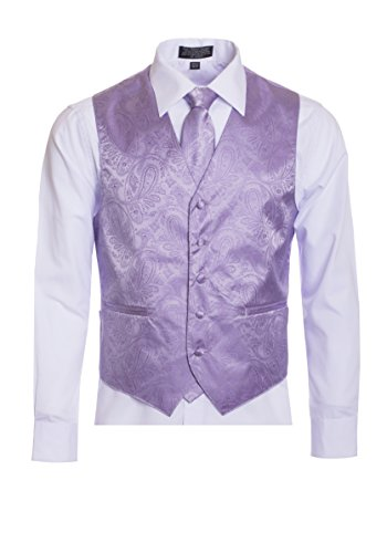 - Men's Premium Paisley Vest Neck Tie Pocket Square Set Paisley Vest for Suits and Tuxedos-Many Colors (Large, Lavender/Lilac)