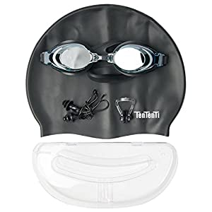 TenTenTI Swimming Goggles with Swim Cap, Nose Clip and Ear Plugs - Black