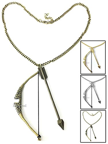 Hunger Catching Games Costumes Fire Halloween (Bow and Arrow Necklace Jewelry by BlingSoul - Halloween Costume Cosplay Merchandise (Antique)