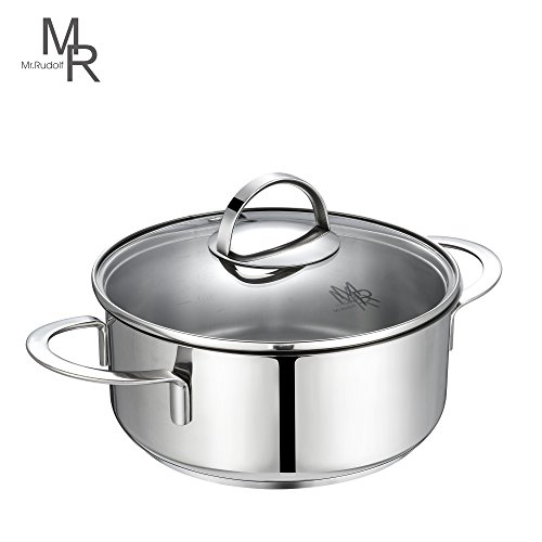 Fits All Stainless Steel Sauce Pan (Mr. Rudolf 2 Quart Saucepan Dutch Oven 18/10 Stainless Steel 2 Handles Saucepan with Glass Lid Dishwasher Safe PFOA Free Casserole Sauce Pot 20cm 2 Liter LN-2085)