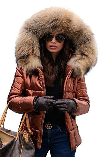 Roiii Women Winter Warm Down Jacket Thick Slim Flash Coat Down Outdoor Hood Parka Short Slim Jacket Black (Medium, Brown ()