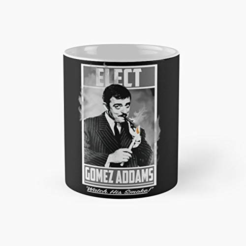Elect Gomez Addams-, campaign Cup, 11 Ounce Ceramic Mug, Perfect Novelty Gift Mug, Funny Gift Mugs, Funny Coffee Mug 11oz, Tea Cups 11oz ()