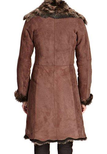 3 Cappotto Ton con Dorž Z Nappa in 4 nera pelle cascata lunga alla di A pecora Dalla a invernale xq1TgRq