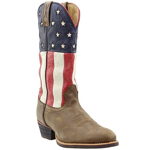Twisted X Mens Bomber Leather USA Flag 13in Western Cowboy Boots 8D Brown