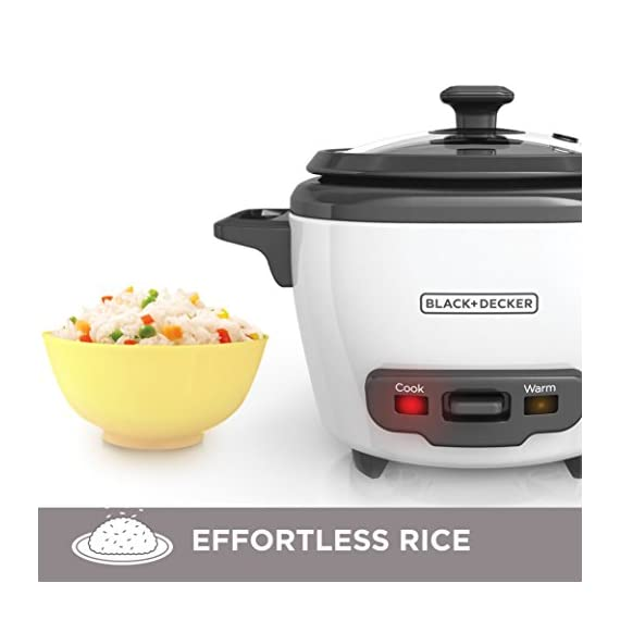 """BLACK+DECKER RC503 Dry/3-Cup Cooked Rice Cooker 7 Sauté Function - This is no ordinary rice cooker! The sauté function puts a delicious sear on meat and other proteins, or softens veggies to complete easy one-pot meals 14-Cup Capacity - Prepare anywhere from 3 to 14 cups of cooked rice, great for one large meal or to save as leftovers Automatic Keep Warm - The rice stays ready for serving! The unit automatically switches to the """"keep warm"""" function after cooking is complete"""