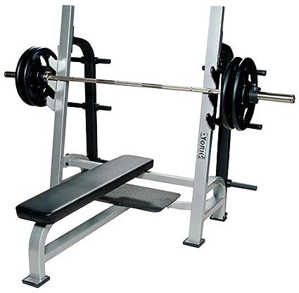 amazon com york barbell olympic flat bench press with gun racks