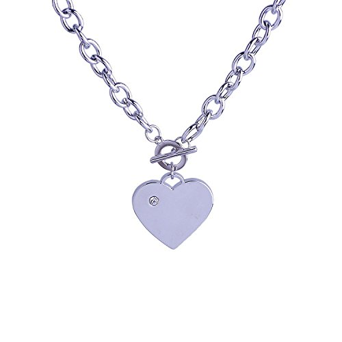 ilver Tone Toggle Clasp Cable Chain Necklace for Women 01001437 (Heart Toggle 1 Piece)
