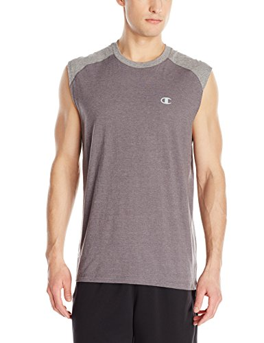 Champion Men's Vapor Cotton Muscle Tee, Granite Heather/Oxford Gray, XX-Large - Sleeveless Soccer Jersey