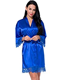 a4644ed324c Women's Satin Silk Robe in Lace Stitching Sexy V-Necked Pajamas Kimono  Nightgown Bridesmaids Sleepwear