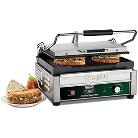 Waring Commercial WPG250TB Grooved Panini Grill With Timer 208 Volt