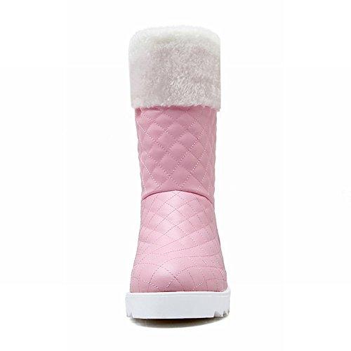 Mostrar Shine Moda Mujer Sweet Platform Hidden Wedge Heel Snow Botas Botas Cortas Rosa