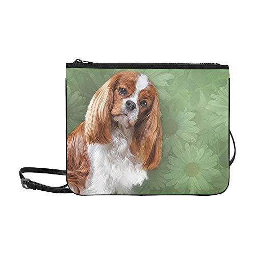 Drawing Dog Cavalier King Charles Spaniel Portrai Pattern Custom High-grade Nylon Slim Clutch Bag Cross-body Bag Shoulder Bag