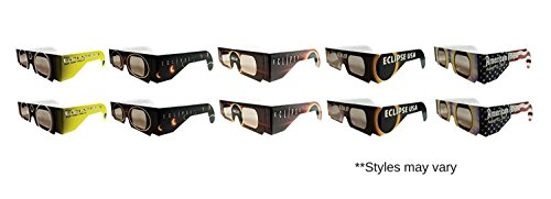 Eclipse Solar Viewing Glasses   Iso   Ce Certified For Safe Solar Viewing  10Pk Assorted  Eye Protection