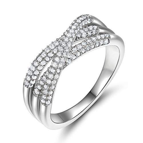 EAMTI 925 Sterling Silver CZ Ring for Women Cubic Zirconia Criss Cross X  Ring Size 6