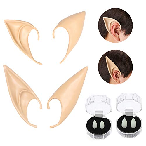 Kids Anime Costumes (Beelittle Latex Elf Ear Pixie Soft Pointed Goblin Ears Vampire Teeth Fangs Anime Party Dress Up Costume Accessorie Masquerade Halloween Party Props)