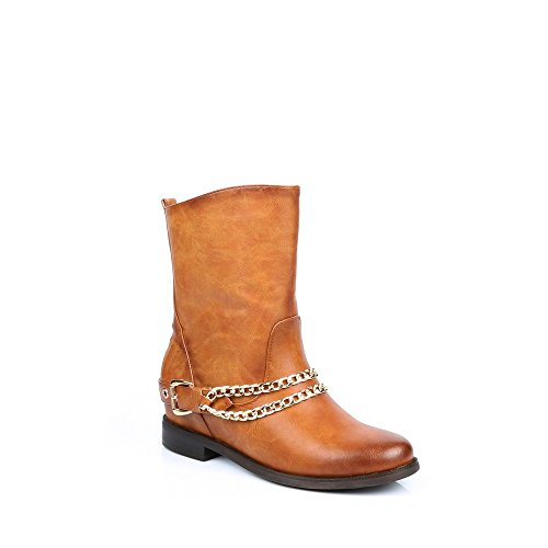 Ideal Shoes-Stiefelette klassischen mit Gurtbändern und Ketten métalisées Gail Camel