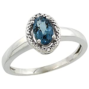 10K White Gold Diamond Halo Natural London Blue Topaz Ring Oval 6X4 mm, 3/8 inch wide, size 9.5