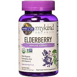Garden of Life mykind Organics Elderberry Immune Gummy - 120 Real Fruit Gummies for Kids & Adults - Echinacea, Zinc & Vitamin C, No Added Sugar - Organic Non-GMO Vegan & Gluten Free Herbal Supplement