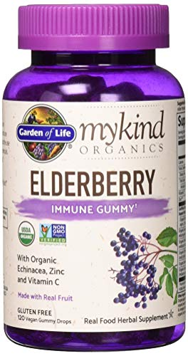 Garden of Life mykind Organics Elderberry Immune Gummy - 120 Real Fruit Gummies for Kids & Adults - Echinacea, Zinc & Vitamin C, No Added Sugar - Organic Non-GMO Vegan & Gluten Free Herbal Supplement