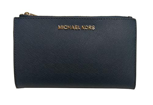 Michael Kors Jet Set Travel Double Zip Saffiano Leather Wristlet (Navy)